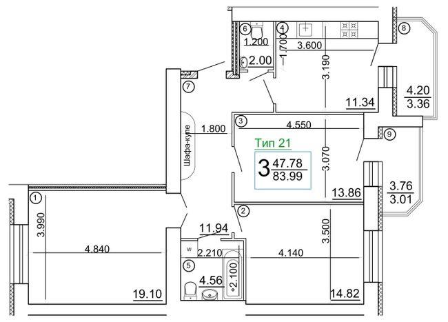 """Мікрорайон """"Академічний"""": планування 3-кімнатної квартири 83.99 м2, тип 3-83.99"""
