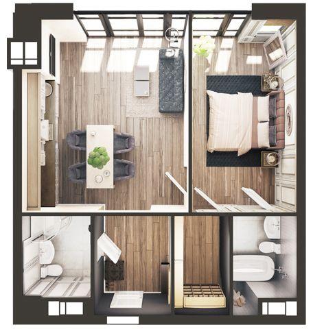 ЖК Park Avenue VIP: планировка 1-комнатной квартиры 60.2 м2, тип Лас-Вегас