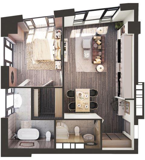 ЖК Park Avenue VIP: планировка 1-комнатной квартиры 67.54 м2, тип Сидней