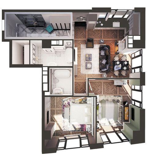 ЖК Park Avenue VIP: планировка 2-комнатной квартиры 102.4 м2, тип Сингапур