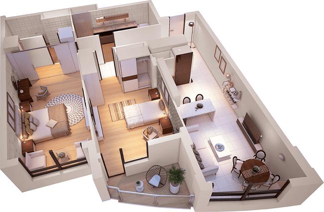 ЖК Park Avenue VIP: планировка 2-комнатной квартиры 100.93 м2, тип Амстердам