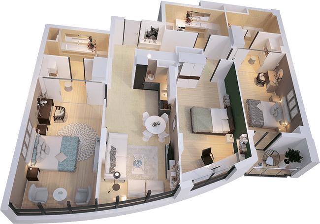 ЖК Park Avenue VIP: планировка 3-комнатной квартиры 136.53 м2, тип Валенсия