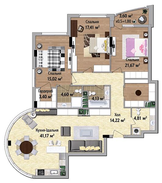 ЖК Park Avenue VIP: планировка 3-комнатной квартиры 128.23 м2, тип Афины