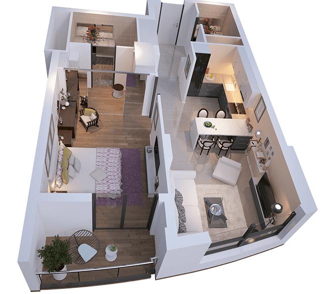 ЖК Park Avenue VIP: планировка 1-комнатной квартиры 61.89 м2, тип Оксфорд