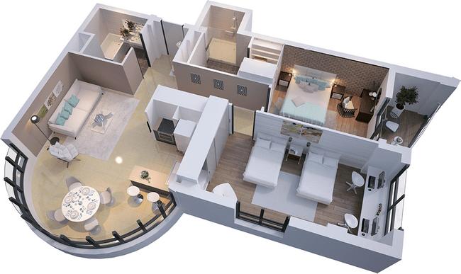 ЖК Park Avenue VIP: планировка 2-комнатной квартиры 93.96 м2, тип Валлетта