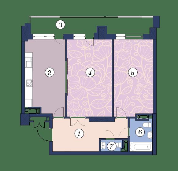 ЖК Richmond: планировка 2-комнатной квартиры 82.2 м2, тип (1)2Б