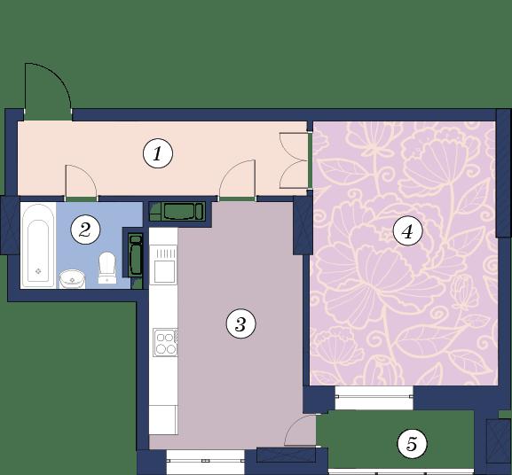 ЖК Richmond: планування 1-кімнатної квартири 52.7 м2, тип (1)1Г