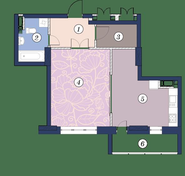 ЖК Richmond: планування 1-кімнатної квартири 55.8 м2, тип (1)1В