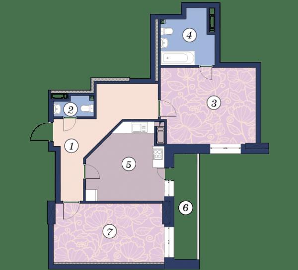 ЖК Richmond: планировка 2-комнатной квартиры 78.1 м2, тип (1)2А