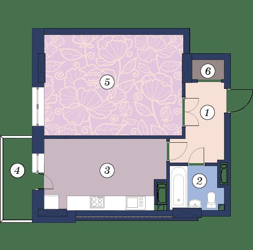ЖК Richmond: планування 1-кімнатної квартири 50.6 м2, тип (1)1А