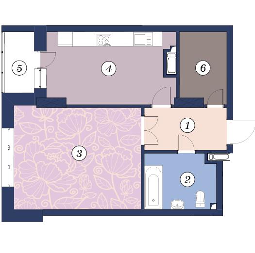ЖК Richmond: планування 1-кімнатної квартири 57.4 м2, тип (1)1Б
