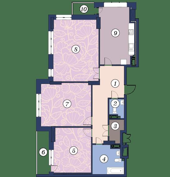 ЖК Richmond: планировка 3-комнатной квартиры 128 м2, тип (1)3Б