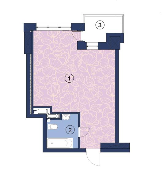 ЖК Richmond: планування 1-кімнатної квартири 39.5 м2, тип (1)1Е