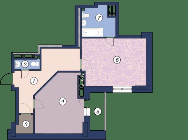 ЖК Richmond: планировка 1-комнатной квартиры 63.4 м2, тип (1)1М