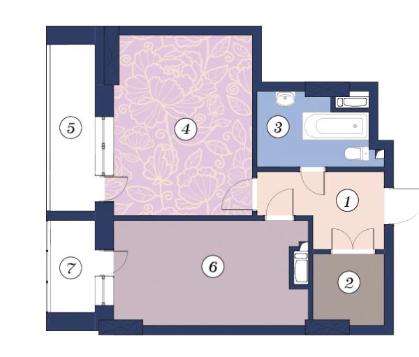 ЖК Richmond: планування 1-кімнатної квартири 51.8 м2, тип (1)1Л