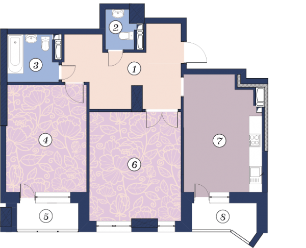 ЖК Richmond: планировка 2-комнатной квартиры 85.8 м2, тип (2)2Г
