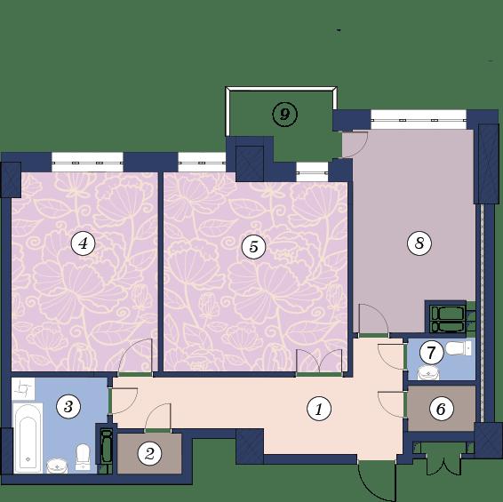 ЖК Richmond: планування 2-кімнатної квартири 81.1 м2, тип (2)2Д