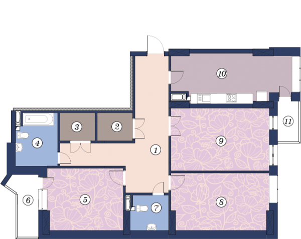 ЖК Richmond: планування 3-кімнатної квартири 117.5 м2, тип (2)3В