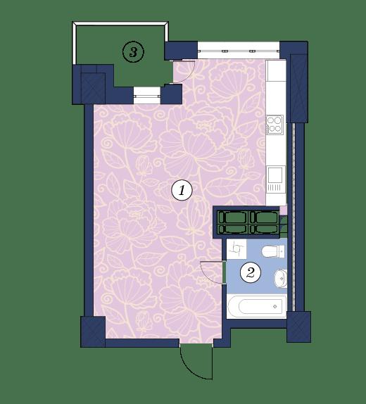 ЖК Richmond: планування 1-кімнатної квартири 40.6 м2, тип (2)1П