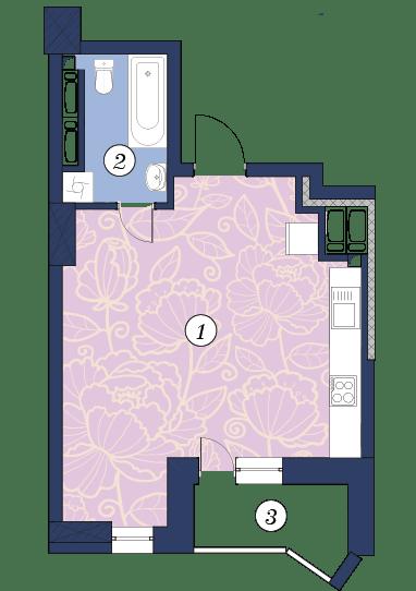 ЖК Richmond: планування 1-кімнатної квартири 36.1 м2, тип (2)1Р