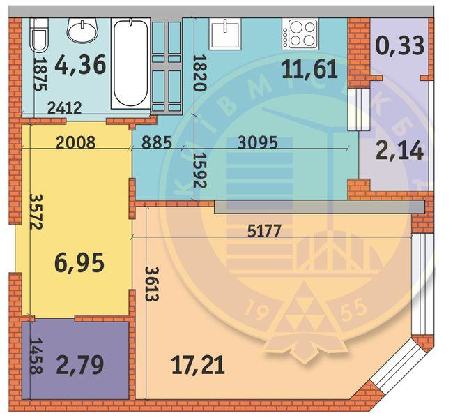 ЖК Гвардійський: планування 1-кімнатної квартири 45.39 м2, тип 1.6