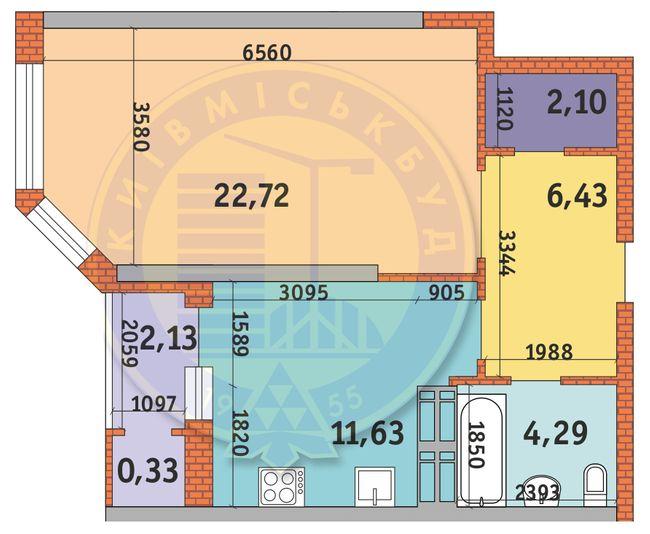 ЖК Гвардійський: планування 1-кімнатної квартири 49.63 м2, тип 1.8