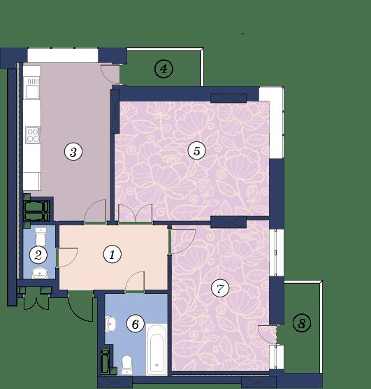 ЖК Richmond: планировка 2-комнатной квартиры 69.2 м2, тип (2)2Н