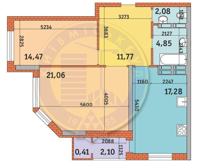 ЖК Гвардійський: планування 2-кімнатної квартири 74.02 м2, тип 2.4