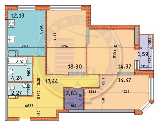 ЖК Гвардійський: планування 3-кімнатної квартири 88.63 м2, тип 3.1