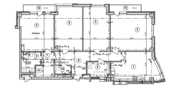 ЖК Срібна Вежа: планировка 4-комнатной квартиры 146.76 м2, тип 4-146.76