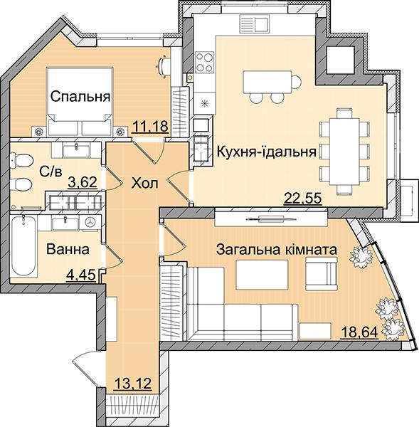 ЖК Smart Plaza Polytech: планування 2-кімнатної квартири 73.55 м2, тип 2-73.55