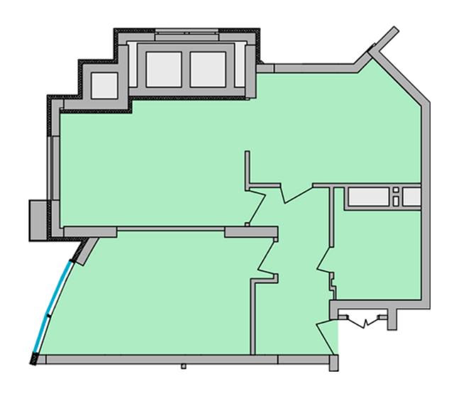 ЖК Smart Plaza Polytech: планировка 2-комнатной квартиры 66.1 м2, тип 2-66.1