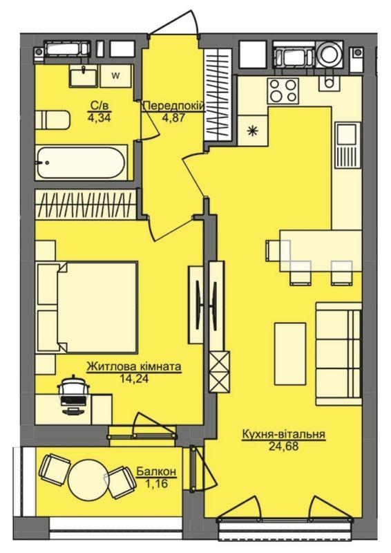 ЖК Семицвет: планировка 1-комнатной квартиры 49.29 м2, тип 1-49.29