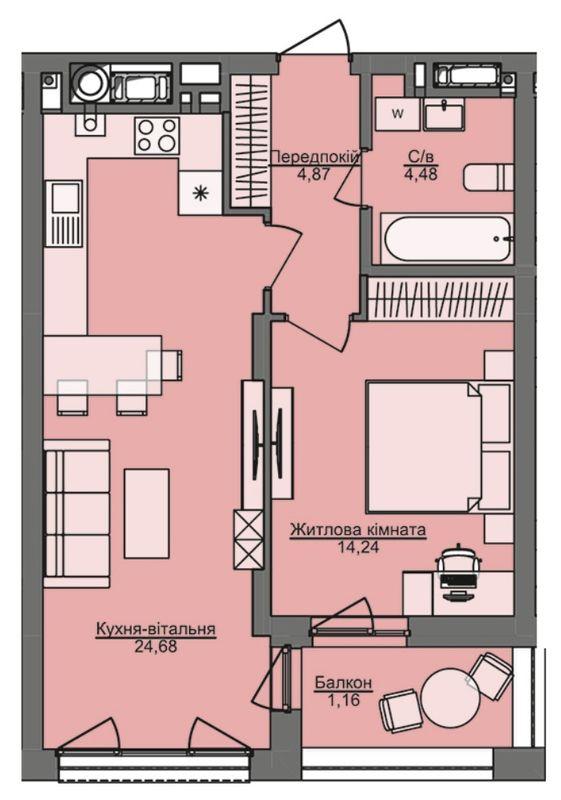 ЖК Семицвет: планировка 1-комнатной квартиры 49.43 м2, тип 1-49.43