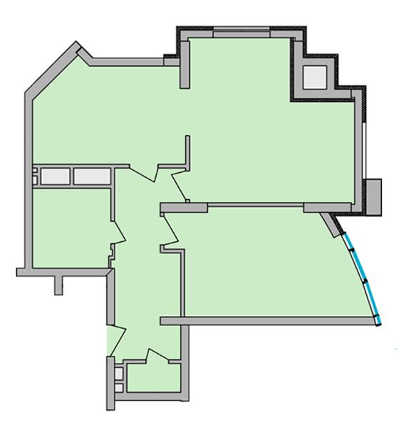ЖК Smart Plaza Polytech: планировка 2-комнатной квартиры 74.66 м2, тип 2-74.66