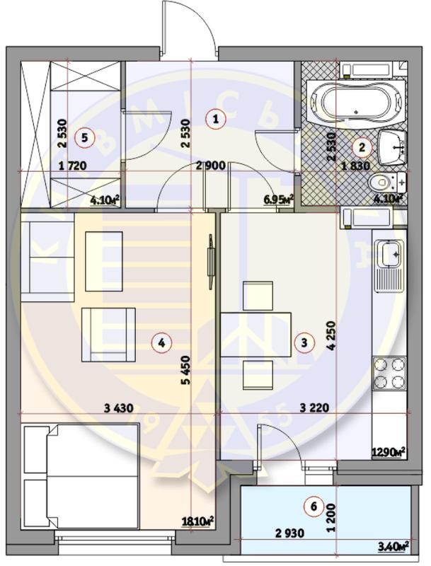 ЖК Кирилівський Гай: планування 1-кімнатної квартири 47.85 м2, тип 1В