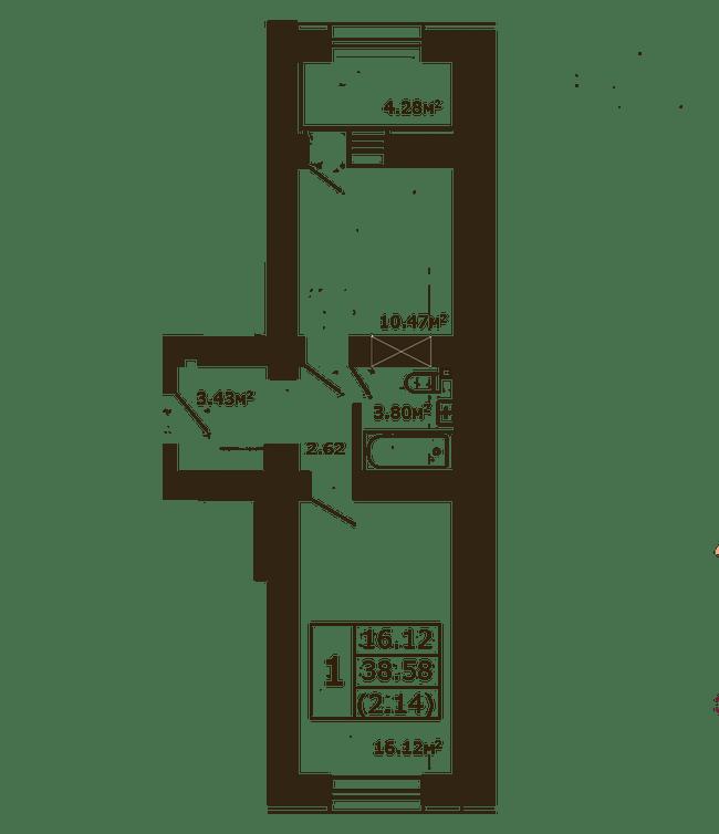 ЖК Чайка: планировка 1-комнатной квартиры 38.58 м2, тип 1-38.58