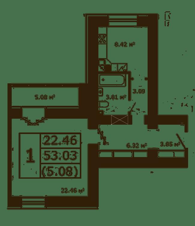 ЖК Чайка: планировка 1-комнатной квартиры 53.03 м2, тип 1-53.03