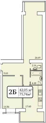 ЖК Олександрівський 2: планування 2-кімнатної квартири 75.74 м2, тип 2Б