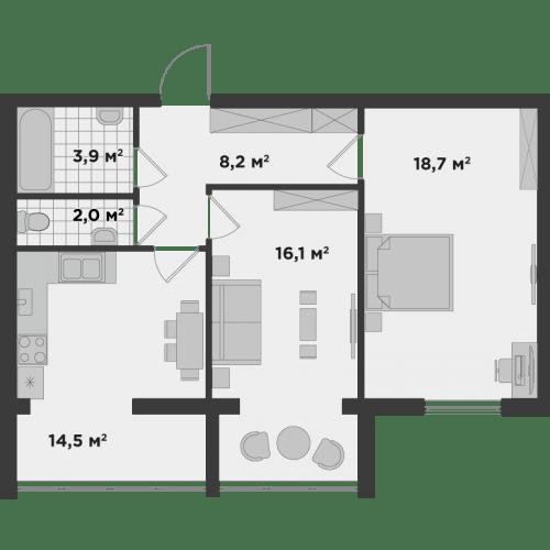 ЖК Millennium State: планування 2-кімнатної квартири 63.96 м2, тип 2А