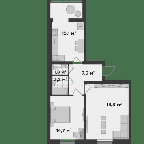 ЖК Millennium State: планування 2-кімнатної квартири 61 м2, тип 2А*
