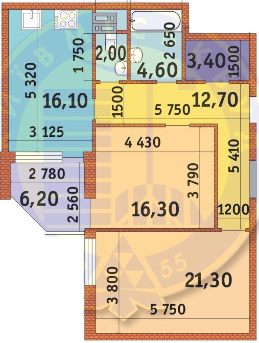 ЖК Шевченківський: планування 2-кімнатної квартири 82.6 м2, тип 2-82.6