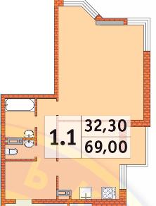 ЖК Шевченковский: планировка 1-комнатной квартиры 69 м2, тип 1.1