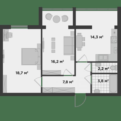 ЖК Millennium State: планировка 2-комнатной квартиры 63.1 м2, тип 2Б