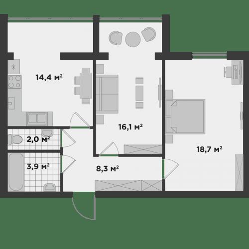 ЖК Millennium State: планировка 2-комнатной квартиры 63.4 м2, тип 2А