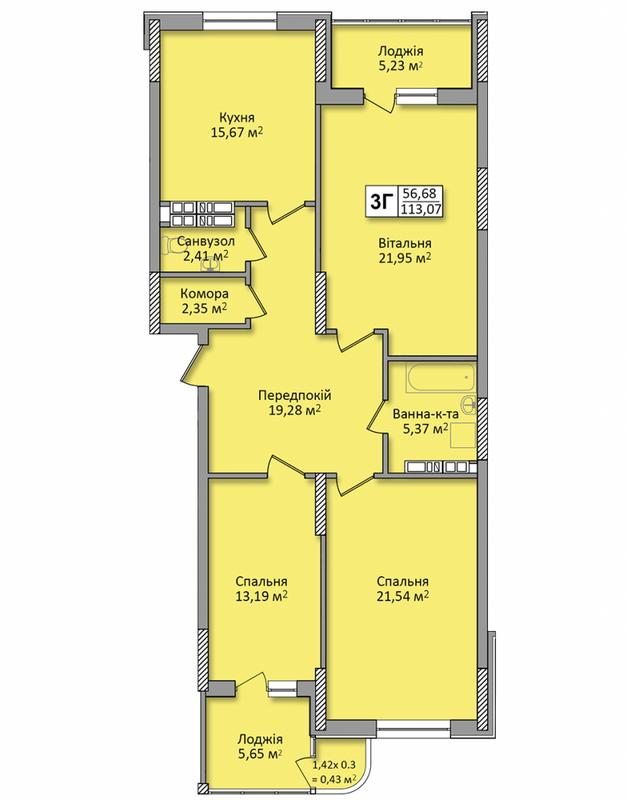 ЖК на Кондратюка: планування 3-кімнатної квартири 113.07 м2, тип 3Г