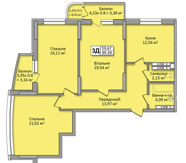 ЖК на Кондратюка: планування 3-кімнатної квартири 99.39 м2, тип 3Д