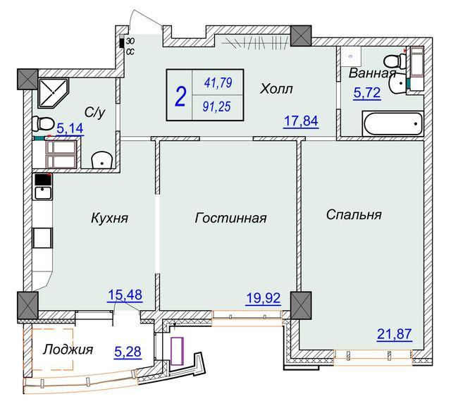 ЖК Бульвар Фонтанов: планировка 2-комнатной квартиры 91.25 м2, тип 2-91.25