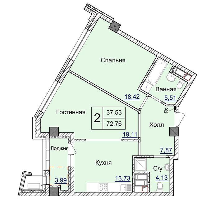 ЖК Бульвар Фонтанов: планировка 2-комнатной квартиры 72.76 м2, тип 2-72.76