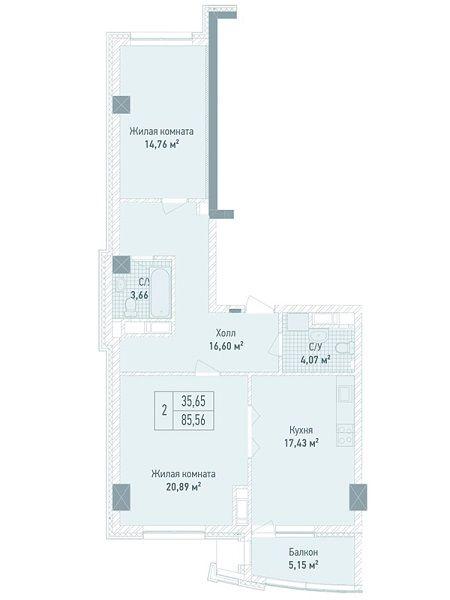 ЖК Бульвар Фонтанов: планировка 2-комнатной квартиры 85.56 м2, тип 2-85.56